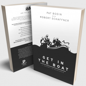 """Get in the Boat: A Journey to Relevance"" by Pat Bodin with Robert Schaffner, front and back covers, book discussing Digital Transformation"